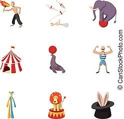 style, icônes, ensemble, cirque, chapiteau, dessin animé