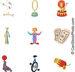 style, icônes, ensemble, cirque, performance, dessin animé