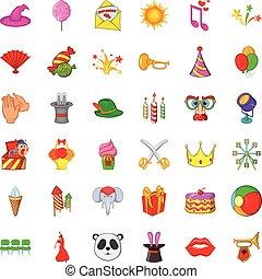 style, icônes, ensemble, cirque, voyager, dessin animé
