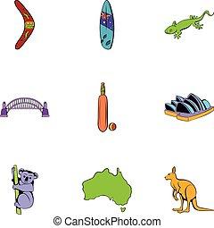 style, icônes, ensemble, dessin animé, australien, continent
