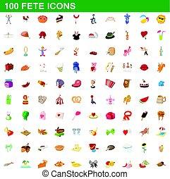style, icônes, ensemble, fête, 100, dessin animé