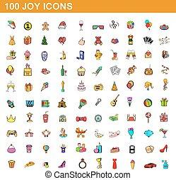 style, icônes, ensemble, joie, 100, dessin animé