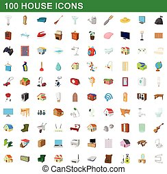 style, icônes, ensemble, maison, 100, dessin animé