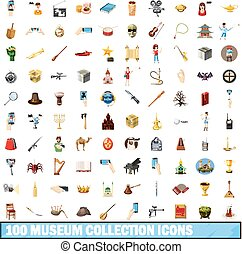 style, icônes, ensemble, musée, collection, 100, dessin animé