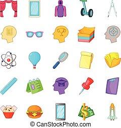 style, icônes, ensemble, projet science, dessin animé
