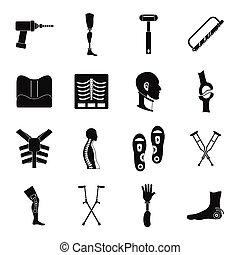 style, icônes, ensemble, prosthetics, simple, orthopédie