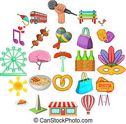 style, icônes, ensemble, rue, dessin animé, célébration