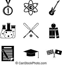 style, icônes, ensemble, simple, étudiant, nouveau