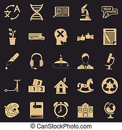 style, icônes, ensemble, simple, nouveau, discoveries
