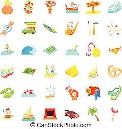 style, icônes, ensemble, voyage, temps, dessin animé