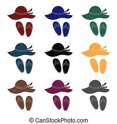 style, illustration., famille, plage, symbole, isolé, volte-face, arrière-plan., vecteur, noir, icône, blanc, vacances, chapeau, stockage