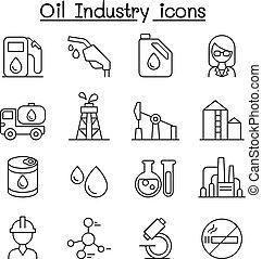 style, industrie pétrolière, ensemble, ligne mince, icône