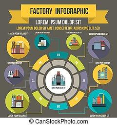 style, infographic, plat, usine, éléments