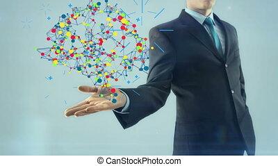 style, intelligent, talent, business, lumière, esprit, main, cerveau, concept, conception, fond, homme affaires, blanc, prise, inspiration, homme