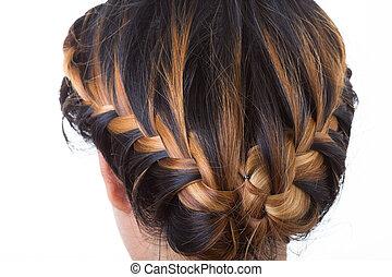 style, isolé, longs cheveux, fond, blanc, tresse