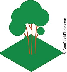 style, isométrique, icône, arbre vert
