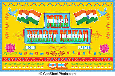 style, mahan, peinture, camion, mera, bharat