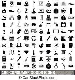 style, marchandises, icônes, ensemble, simple, 100, consommateur
