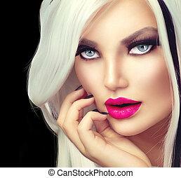 style, mode, beauté, fille noire, blanc