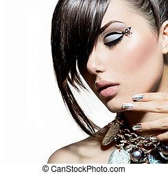 style, mode, cheveux, portrait., branché, modèle, girl