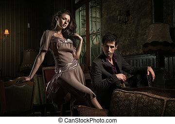 style, mode, photo, couple, jeune, séduisant