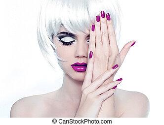 style, mode, polonais, nails., beauté, femme, maquillage, manucuré, court, hair., portrait, blanc