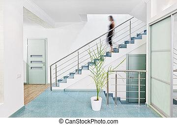 style, moderne, brouillé, personne, intérieur, en mouvement, minimalisme, bas, salle