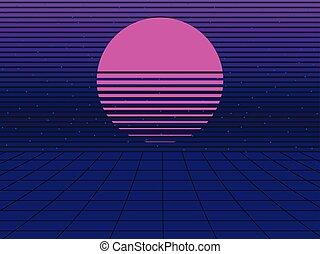 style, néon, illustration, arrière-plan., vecteur, coucher soleil, retro, 80s., synthwave, futuriste, retrowave.
