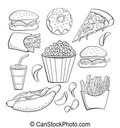 style, nourriture, beignet, griffonnage, nourritures, chaud, pop-corn, jeûne, divers, set., chips, soude, dog., icône, pizza, frire, collection., cheeseburger.