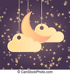style, nuages, lune, étoiles, fond, dessin animé