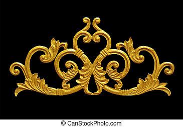 style, or, vendange, ornement, plaqué, floral