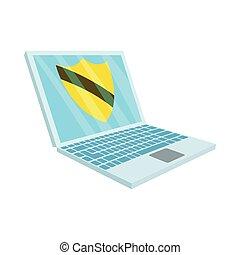 style, ordinateur portable, protection virus, icône, dessin animé