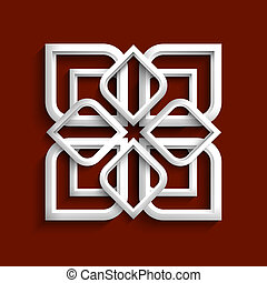 style, -, ornement, variation, 2, blanc, arabe, 3d