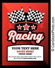 style, ou, événement, courses, allumette, karting, motorsport, club, affiche, annonce