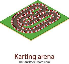 style, piste, karting, isométrique, icône, 3d