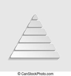 style, pyramide, illustration., signe., papier, maslow, icon.