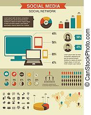 style, réseau, ensemble, infographics, conception, retro, social
