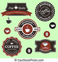style, retro, vecteur, étiquettes, café