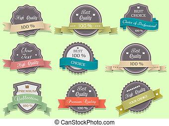 style, retro, vecteur, prime, étiquettes, qualité