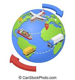 style, route, isométrique, expédition, global, air, eau, icône