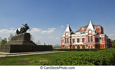 style, samara., russe, théâtre, drame, monument, bâtiment, construit, traditionnel, cavalry., paysage., russie, urbain