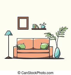 style, simple, plat, salle, dessin animé, meubles