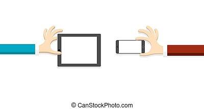 style, smartphone, tablette, mains, (pc), dessin animé