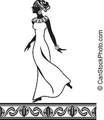 style, stencil, girl, africaine