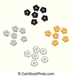style, stockage, symbole, dessin animé, noir, pâtes, isolé, stelline, icône, vecteur, types, arrière-plan., illustration., blanc