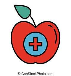 style, symbole, ligne, croix, pomme, icône, monde médical, remplir