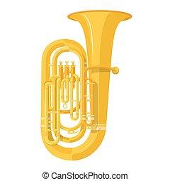 style, tuba, coloré, illustration, instrument musique, vecteur, plat