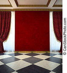 style, unfurnished, salle, rouges, classique