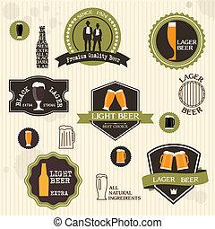 style, vendange, étiquettes, bière, conception, insignes