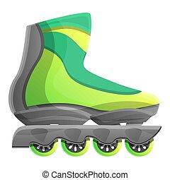 style, vert, patins, icône, inline, dessin animé